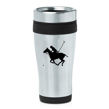 Horse Travel Mugs - 16oz Insulated Stainless Steel Travel Mug Polo Player and Horse (Black )
