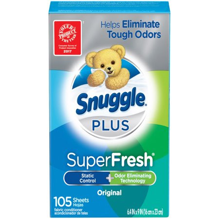 (2 Pack) Snuggle Plus Super Fresh Fabric Softener Dryer Sheets, Original, 105 Count