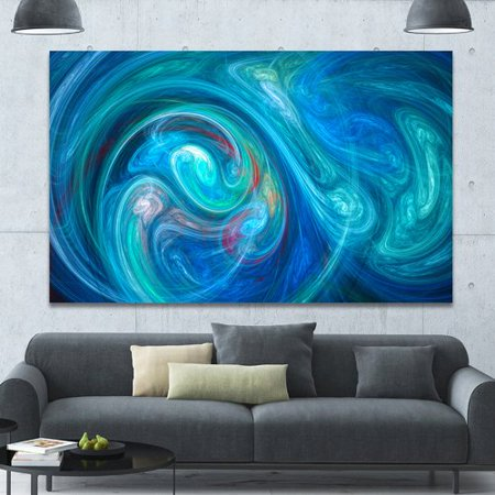 Design Art 'Dark Blue Fractal Abstract Texture' Graphic Art on Canvas