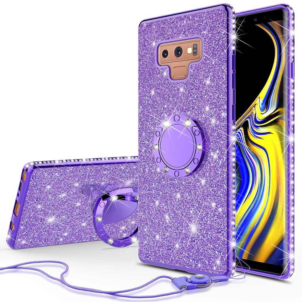 san francisco 0ede4 69373 Galaxy Note 9 Case Cute Glitter Ring Stand Phone Case Kickstand Bling  Diamond Rhinestone Bumper Sparkly Luxury Clear Thin Soft Protective Cover  for ...