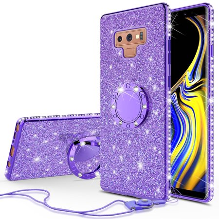 san francisco 86c19 63a4e Galaxy Note 9 Case Cute Glitter Ring Stand Phone Case Kickstand Bling  Diamond Rhinestone Bumper Sparkly Luxury Clear Thin Soft Protective Cover  for ...