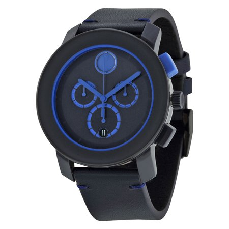 Bold Chronograph Navy Blue Dial Blue Leather Mens Watch 3600349