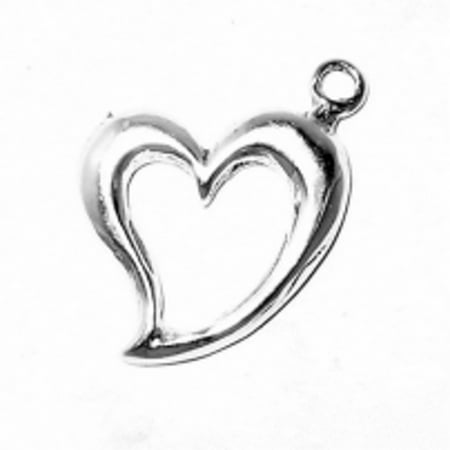 "Sterling Silver 7"" 4.5mm Charm Bracelet With Attached Open Heart Charm With A Smooth Satin Finish"