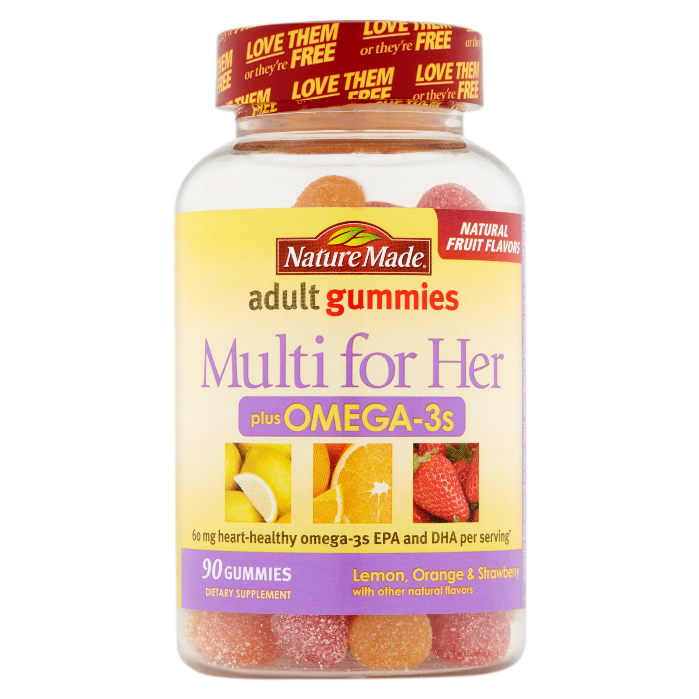 Nature Made Multi for Her Plus Omega-3s Lemon, Orange & Strawberry Adult Gummies, 90 count