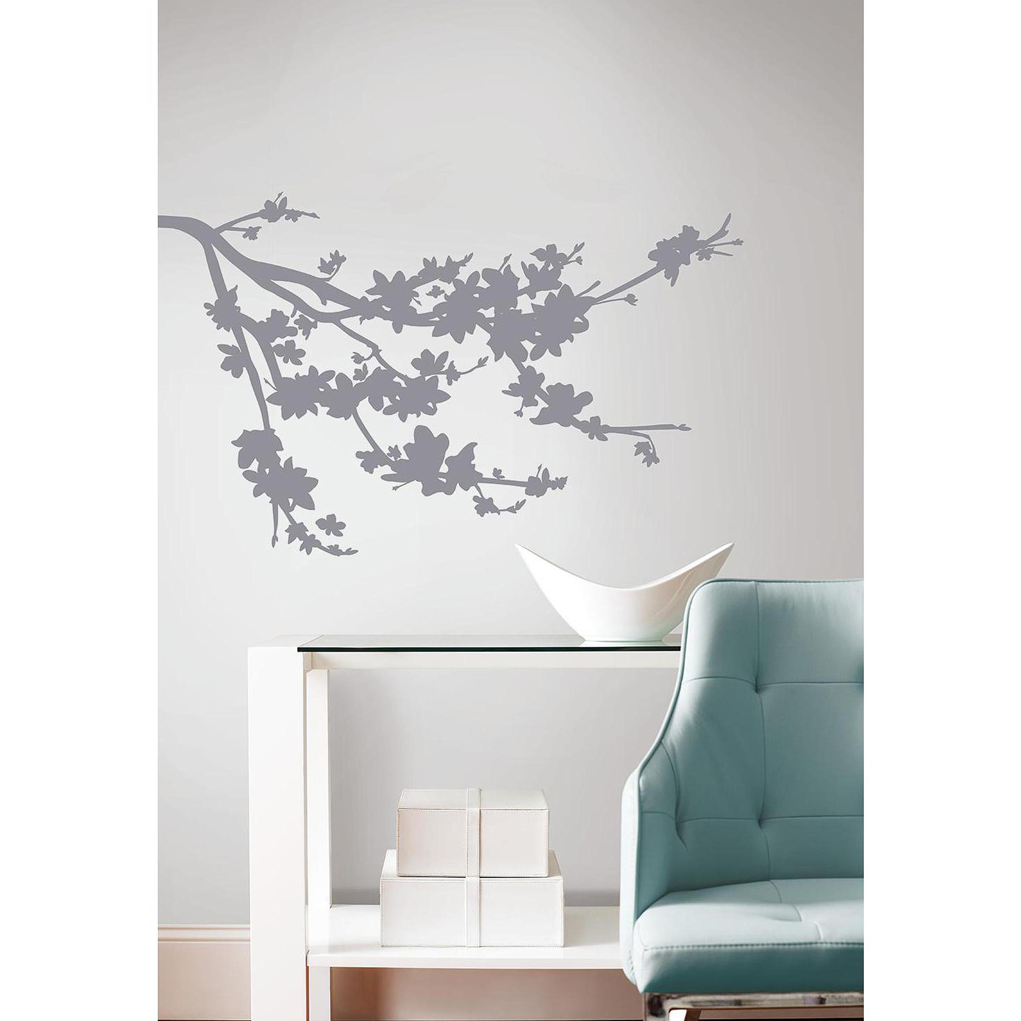 Superior Gray Silhouette Blossom Branch Peel And Stick Wall Decals   Walmart.com Part 30