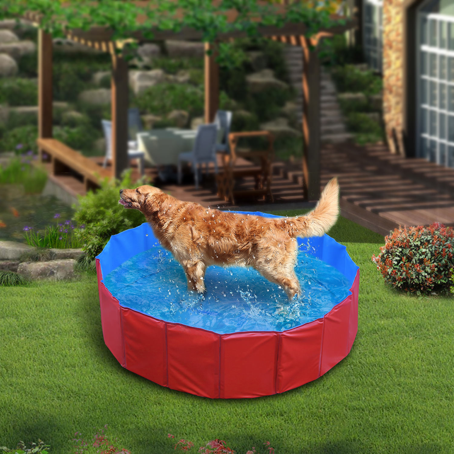 GPCT [48 INCH] Foldable/Portable [Collapsible] Large Dog Pet Bathing Swimming Pool. Durable, Heavy Duty, Bathing Bath Tub Wash Pond Water Washer For Toddlers, Dogs, Cats, Pets - Blue