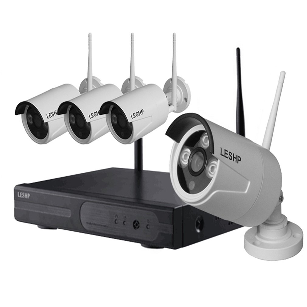 LESHP Wireless Security Camera System 4CH 720p Video Recorder NVR IP Cameras