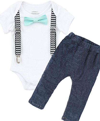 Noah's Boytique Boys Cake Smash Outfit First Birthday Black Chevron Suspenders Mint Bow Tie and Stretchy Jean Pants 6-12 Months