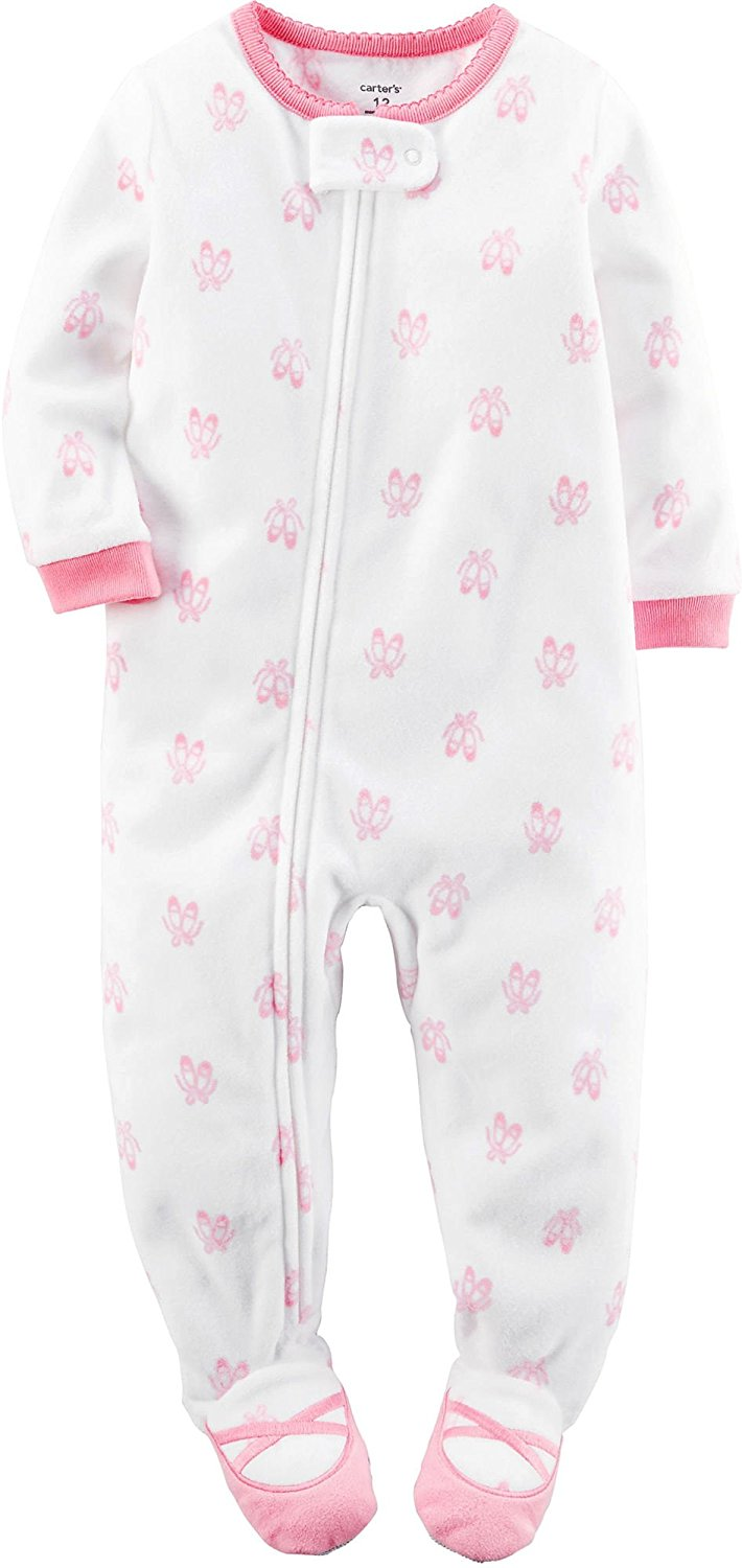 237d2c0ec Carter s Baby Girls 1-Piece Footed Fleece Pajamas - Walmart.com