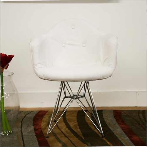 Wholesale Interiors Baxton Studio Lia Faux Leather Arm Chair with Eiffel Base in White