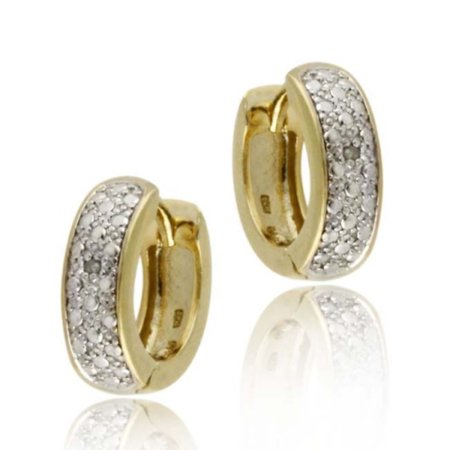 18K Gold over Sterling Silver Diamond Accent Huggies Hoop Earrings (Diamond Channel Huggie Earrings)