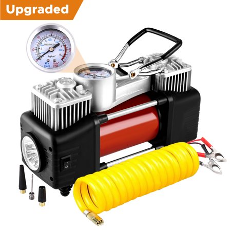 Audew Dual Cylinder Air Compressor Pump, Heavy Duty Portable Air Pump, Auto 12V Tire Inflator for Car, Truck, RV, Bicycle and Other
