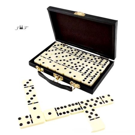 28 Piece Domino Set-Premium Classic Double Six In Durable Wooden Brown Box-Anytime Entertainment-Long time Storage, Easy Transport, Its Durable, Wooden Case Will Keep For Years Without Misplacing
