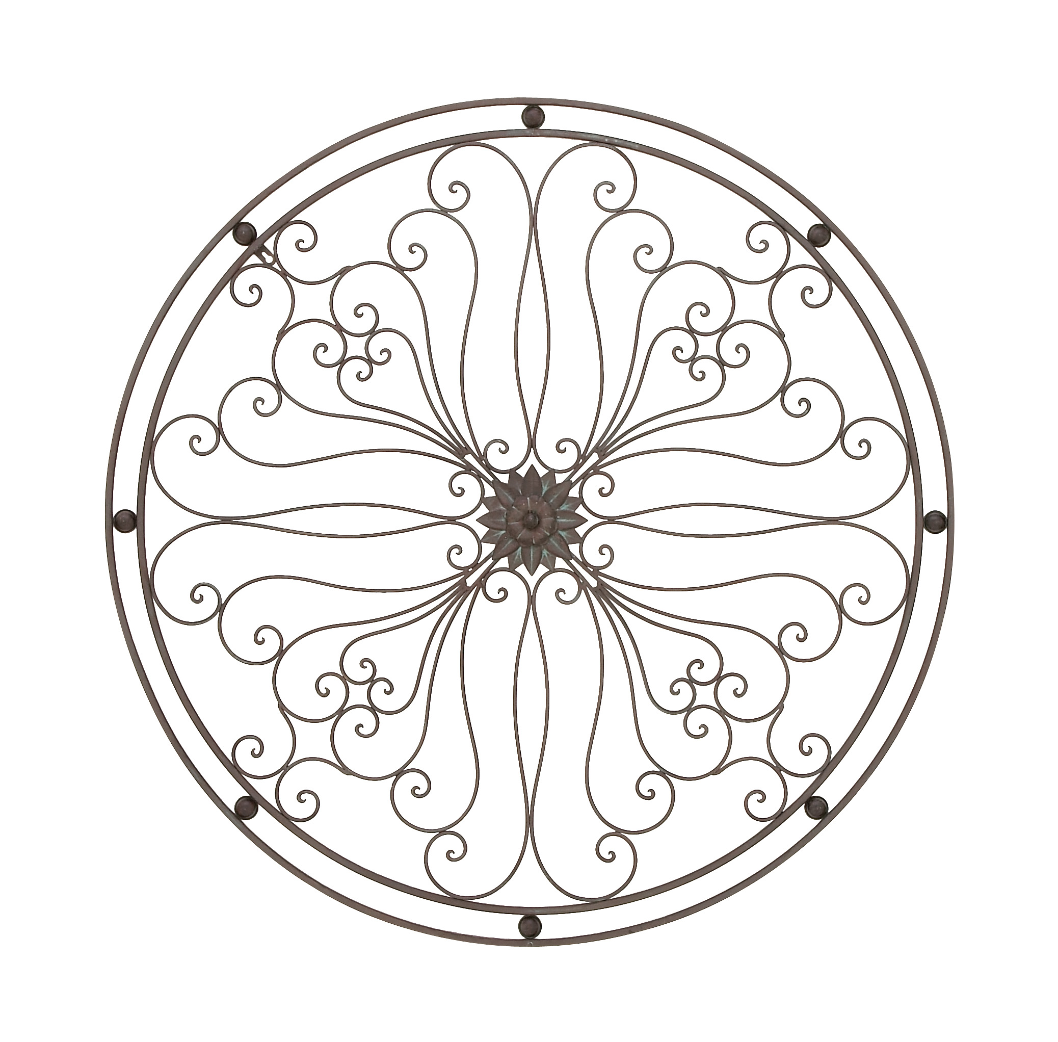 Decmode Traditional 40 Inch Framed Floral And Scrollwork Metal Work Wall Decor