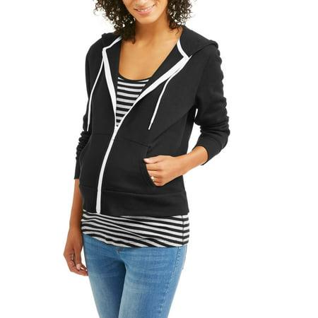 eec13a8d47a1f Faded Glory - Maternity Zip Up Hooded Sweatshirt - Walmart.com