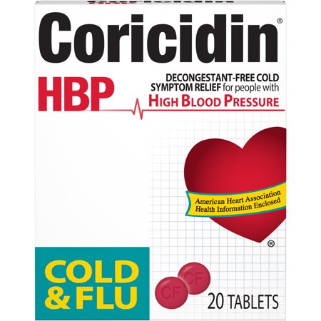 Coricidin HBP, Cold & Flu Relief Tablets, High Blood Pressure, 20 Count (20 High Relief)