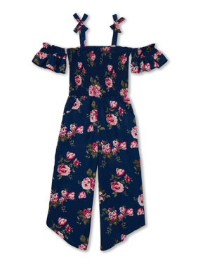 Star Ride Girls' 4-16 Cold Shoulder Smocked Bodice Floral Jumpsuit