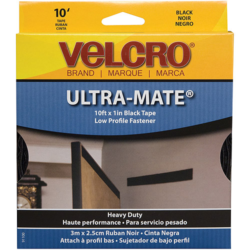 "Velcro Ultra-Mate Glue-On Strip, 1"" x 10', Black"