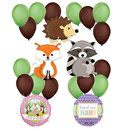 Woodland Critters Creatures Baby Girl Baby Shower Party Supplies and Balloon Decorations
