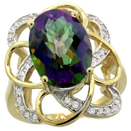 14k Yellow Gold Natural Mystic Topaz Floral Design Ring 13x9 mm Oval Shape Diamond Accent, 7/8inch wide