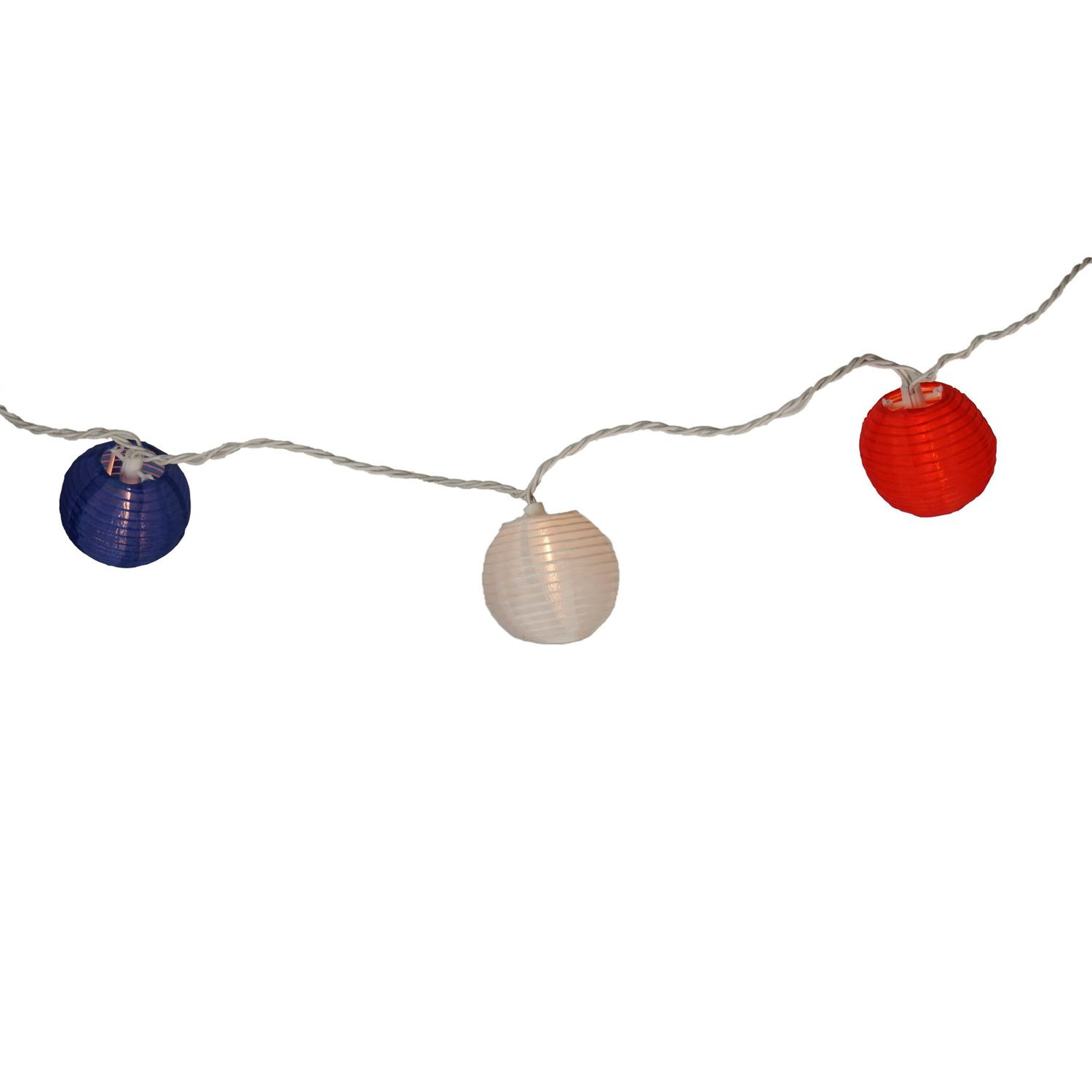 Set Of 10 Red, White And Blue Round Chinese Lantern Patio Lights   White  Wire