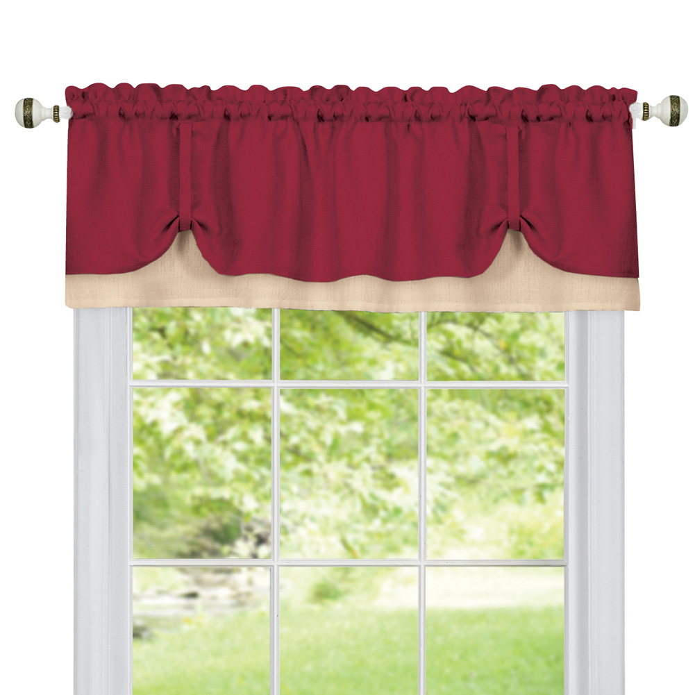 Darcy Two-Tone Rod Pocket Window Curtain Valance with Pick-Up Accents, Home Décor for Any Room, Burgundy