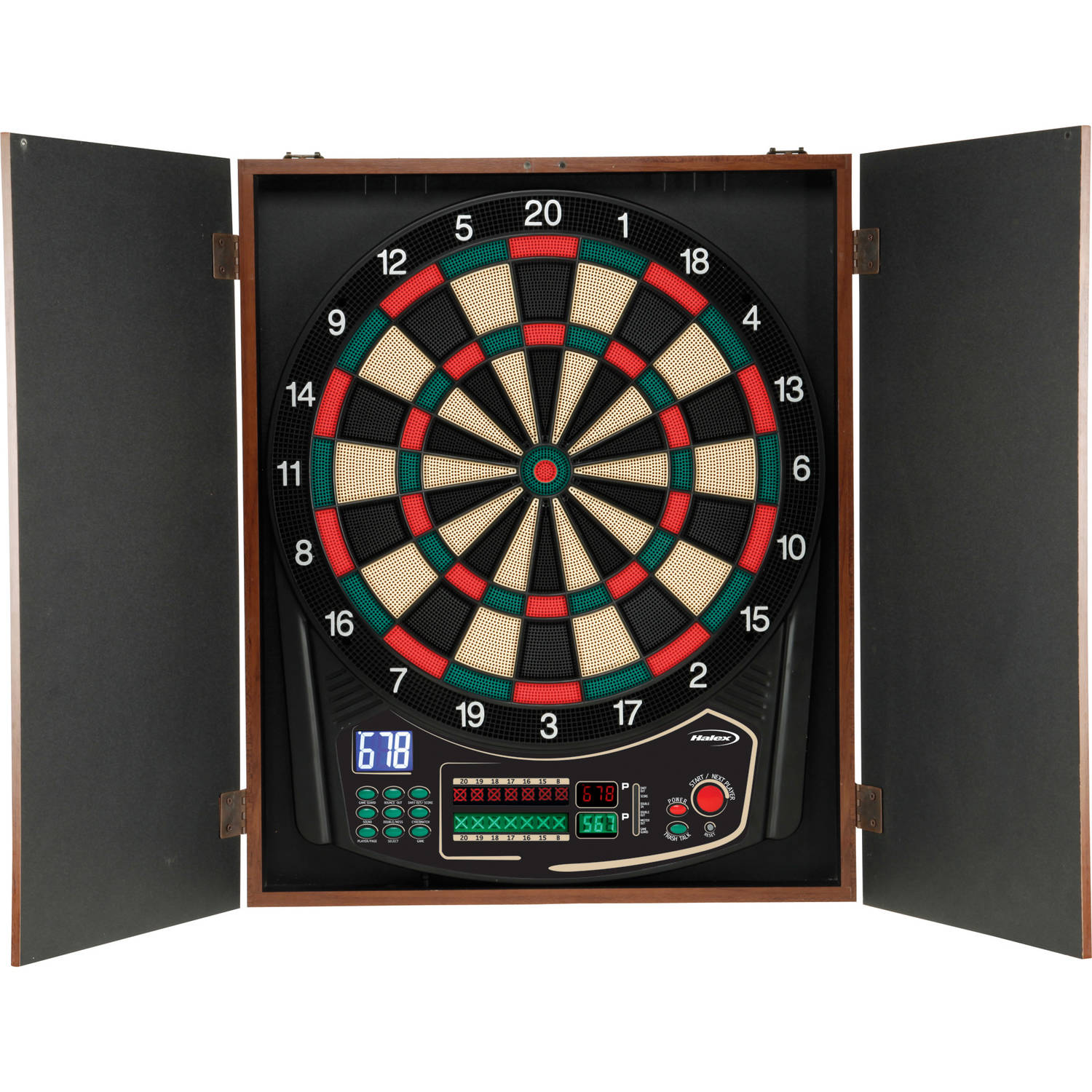 Halex Omega Electronic Dartboard with Wooden Cabinet by Halex