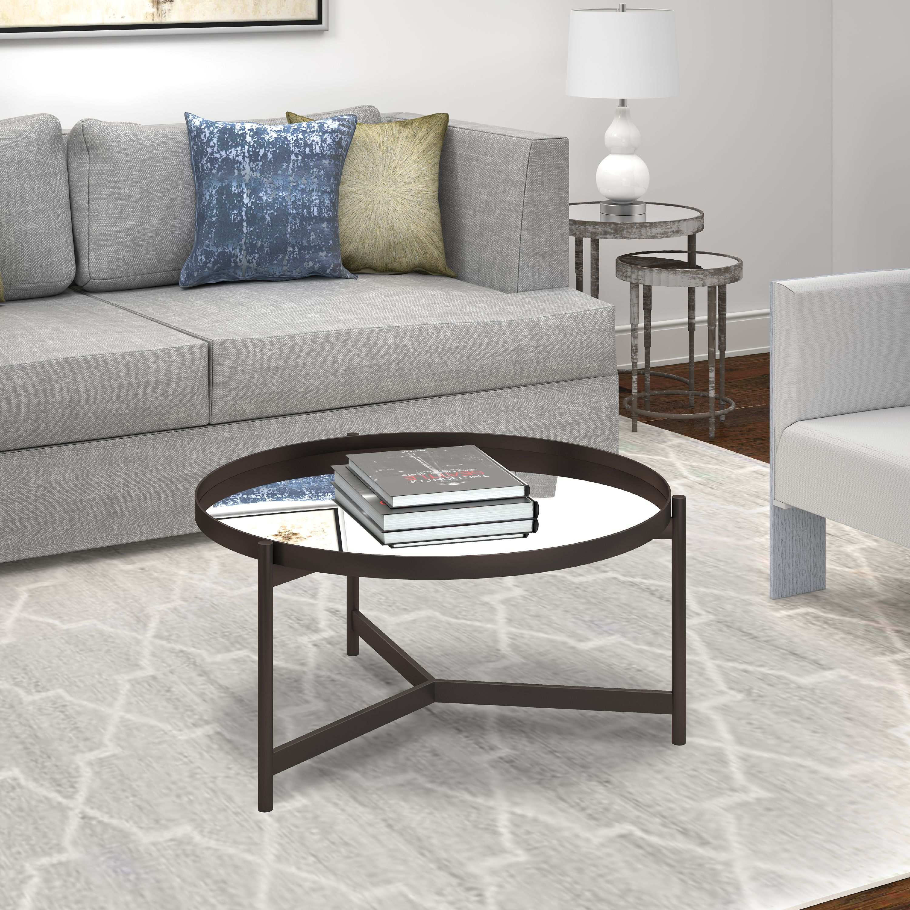 Moroccan-Inspired Round Coffee Table With Glass Mirrored ...
