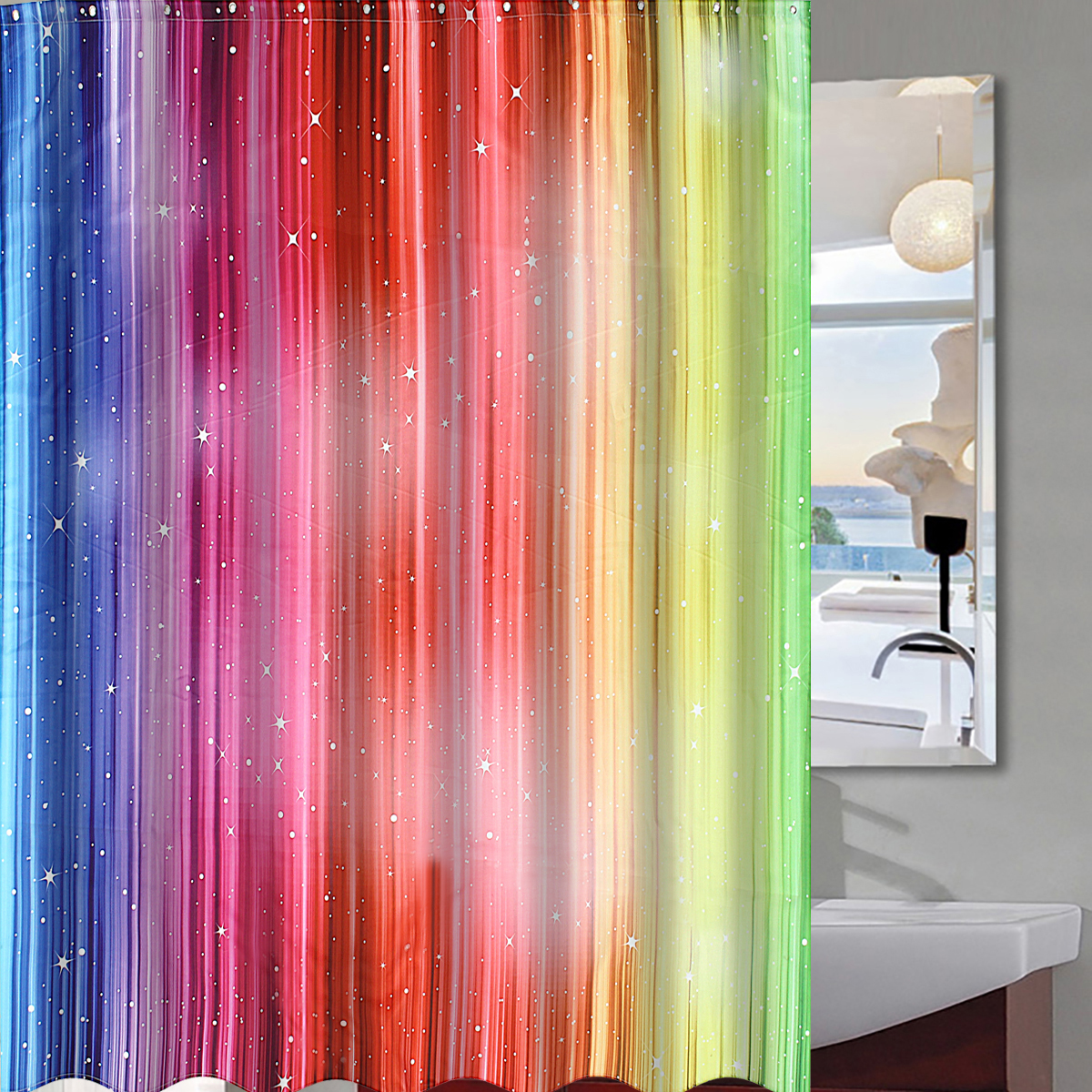 180cm Rainbow Color Gradient Waterproof Fabric Shower Curtain Polyester 12 Hooks