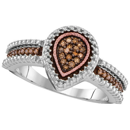 Size 7 - 925 Sterling Silver Round Chocolate Brown Diamond Teardrop Cluster Ring 1/6 Cttw