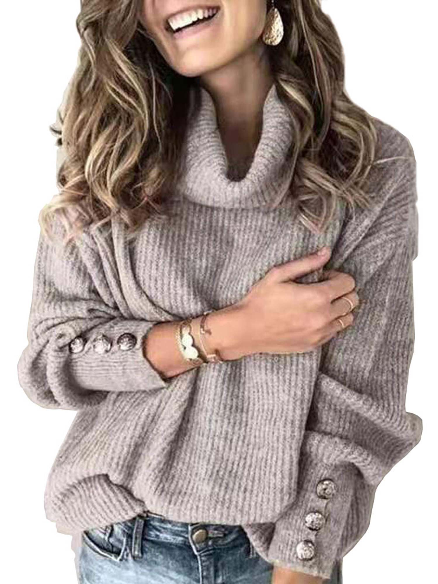 Women Oversized Turtleneck Pullover Sweater Loose Cowl Neck Long Sleeve Knit Top