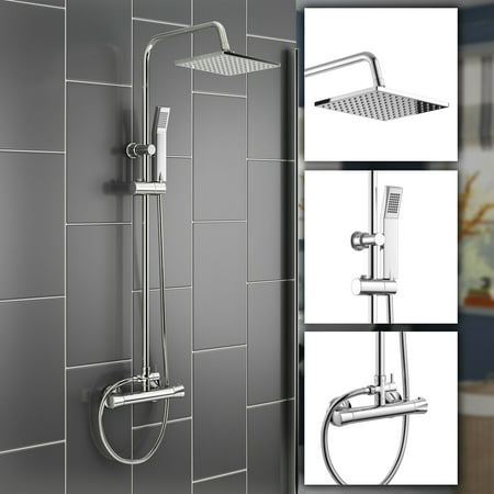 Lv. life Wall Mounted Thermostatic Handhled Sprayer Bathroom Complete Rainfall Shower System Set, Shower System,Shower Set