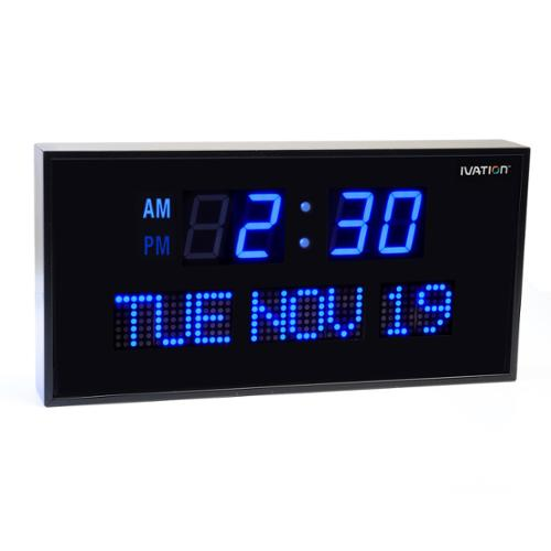 Ivation Big Digital Blue LED Clock with Day and Date -Shelf or Wall Mount (12 inch)