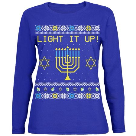 Hanukkah Light It Up Ugly Christmas Sweater Womens Long Sleeve T Shirt - Woman Ugly Christmas Sweater