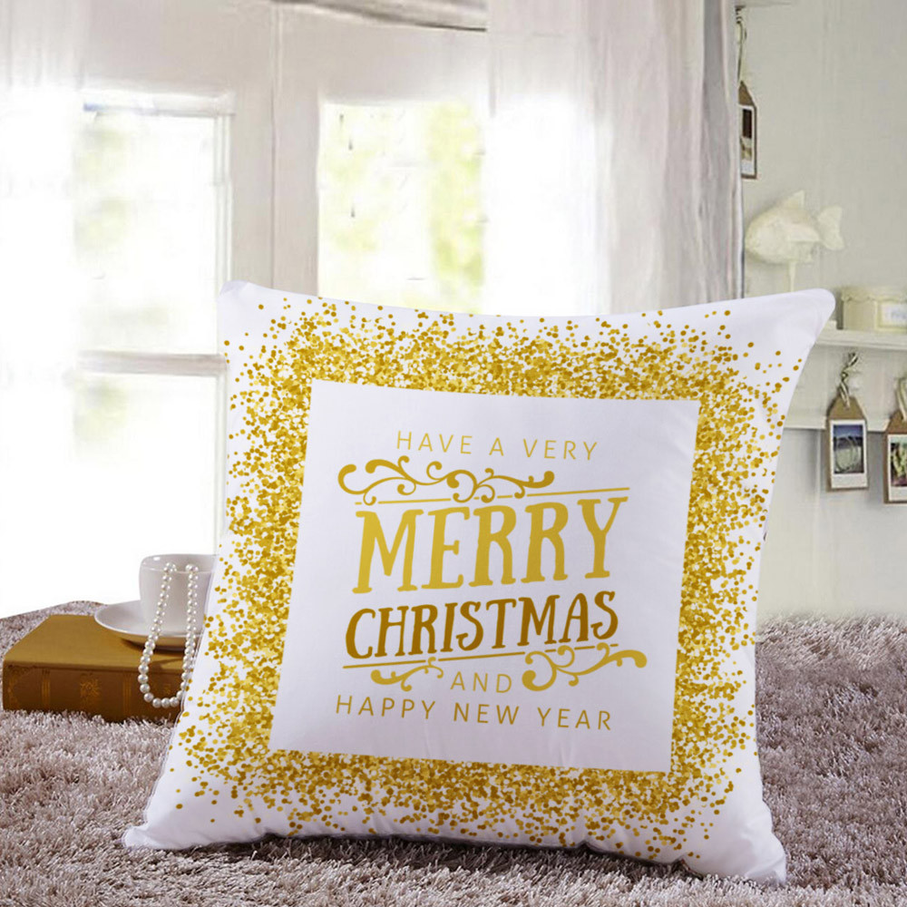 Hot Sale Merry Christmas Home Shops Sofa Bed Car Seat Linen Square Pillow Case Decorative Cushion Cover Xmas Home Festival Decoration