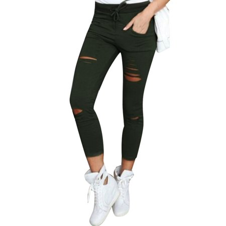 Women Skinny Ripped Pants High Waist Stretch Slim Pencil Trousers XL