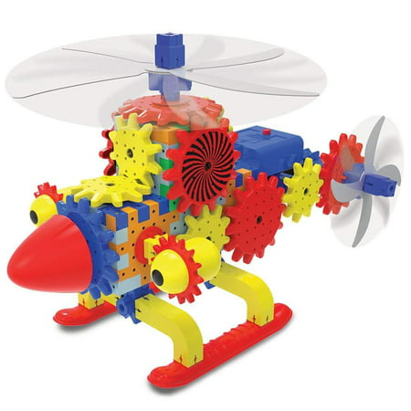 Techno Gears - Quirky Copter, Over 80 colorful construction pieces to build a moving and rotating quirky copter By The Learning