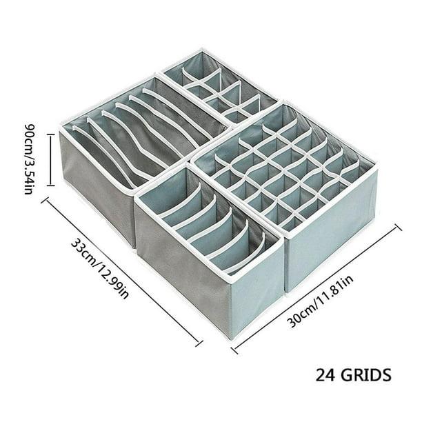 12 Cells Storage Boxes For Ties Socks Shorts Bra Underwear Divider Drawer Lidded