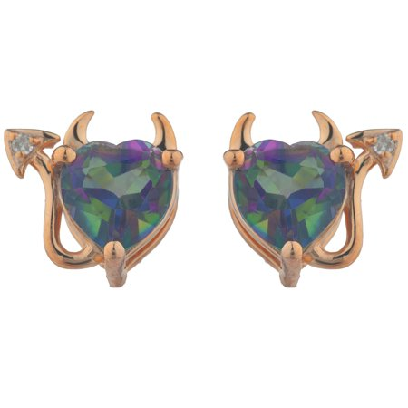 Natural Mystic Topaz & Diamond Devil Heart Stud Earrings 14Kt Rose Gold Plated Natural Citrine Earring