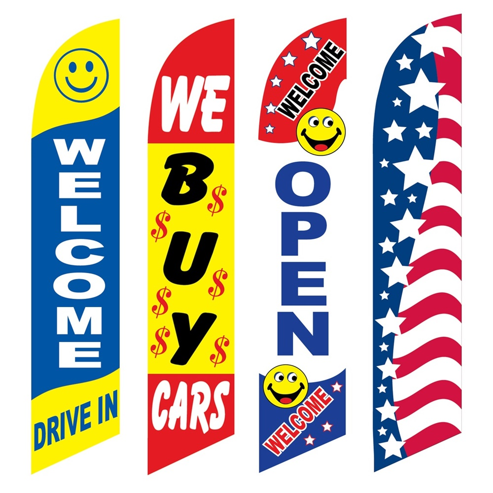 4 Advertising Swooper Flags Welcome Drive In We Buy Cars Open Patriotic