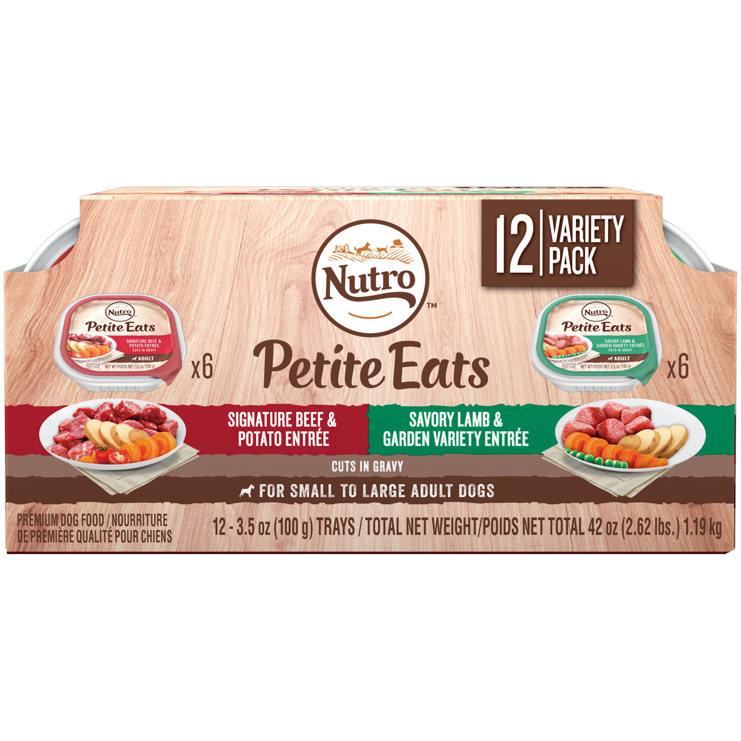 Nutro Petite Eats Adult Wet Dog Food Variety Pack, Signature Beef & Potato, & Savory Lamb & Garden Variety Cuts in Gravy, 3.5 Oz (24 Trays)