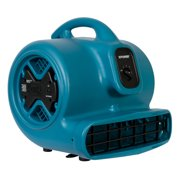 XPOWER X-600A 1/3 HP 2400 CFM 3 Speed Air Mover, Carpet Dryer, Floor Fan, Blower with Build-in GFCI Power Outlets - Blue