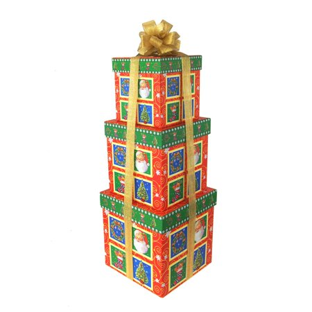 7 Piece Set Gift Box (Santa's Classic Christmas Nested Holiday Gift Boxes, 5, 6 and 7-Inch, 3-Piece )