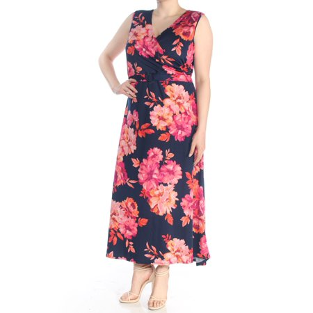 NY COLLECTION Womens Navy Floral Surplice Sleeveless V Neck Maxi Faux Wrap Formal Dress Plus  Size: 1X