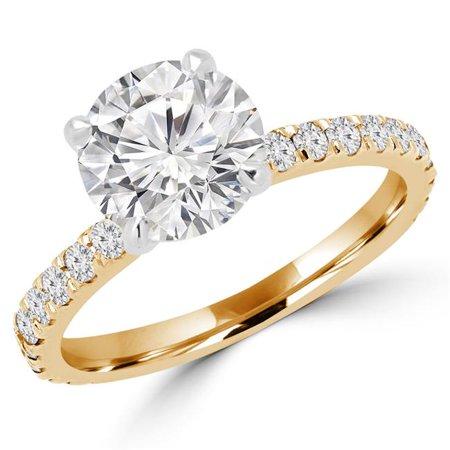 (Majesty Diamonds MD160340-6.75 1 CTW Round Cut Diamond Multi Stone Engagement Ring in 14K Yellow Gold - Size 6.75)