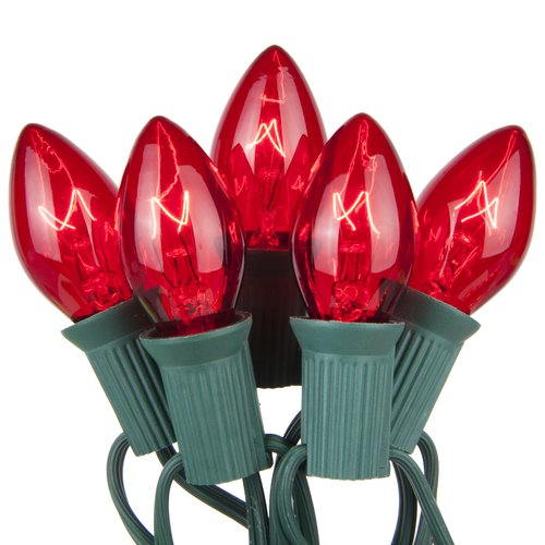 """C7 Red Transparent Steady 25 Light Set, Green Wire, 12"""" Spacing"""
