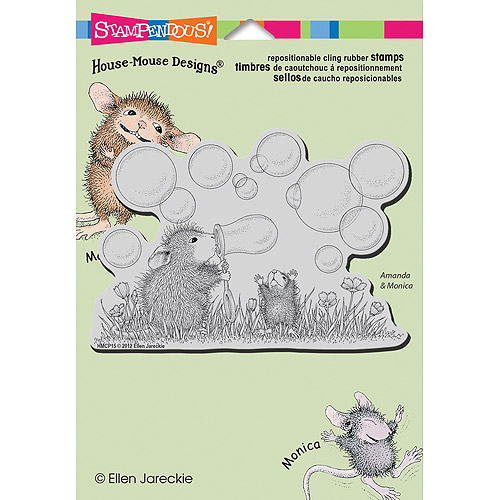 "Stampendous House Mouse Cling Stamp 5.5""X4.5"" -Blowing Bubbles"
