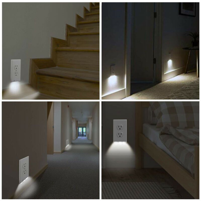 Duplex Wall Outlet Cover plate Ambient light sensor with led night light