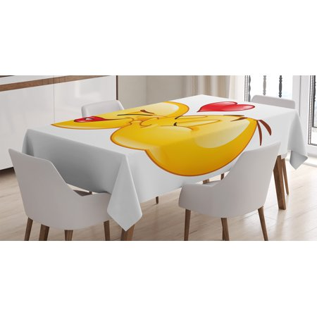 Emoji Tablecloth, Romantic Flirty Loving Smiley Faces Couple Kissing Eachother Hearts Image Art Print, Rectangular Table Cover for Dining Room Kitchen, 52 X 70 Inches, Multicolor, by