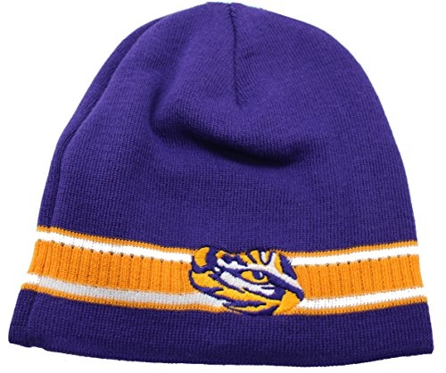 LSU Tigers Cuffless Knit Beanie Cap Purple by NCAA